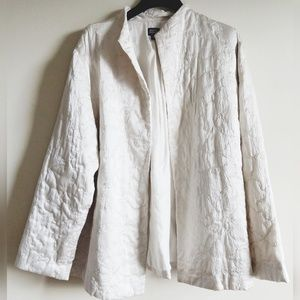 EILEEN FISHER Silk Embroidered Open Front Jacket